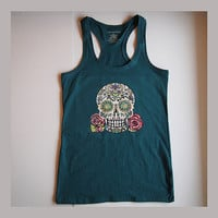 Women Tank Top Candy Sugar Skull Teal Sleeveless Racerback Shirt Medium. Long Fitted Scoop Neck Teen Girl Tattoo Skull and Roses