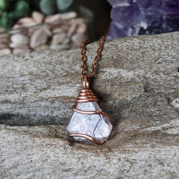 Copper & Fluorite Necklace, Wire Wrapped Gemstone Pendant, Rough Raw Stone Jewelry, Rustic Wedding Jewelry, Festival Style, Wiccan Jewelry