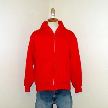 Vintage Amazing 80s PLAIN Red Full ZIP HOODIE Blank Medium Men Women Retro Classic Cotton Acrylic Sweatshirt