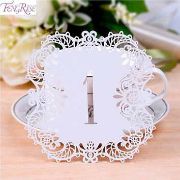 FENGRISE 10 Pieces Rustic Wedding Table Number Table Cards Laser Cutting Cards Vintage Wedding Decoration Event Party Supplies