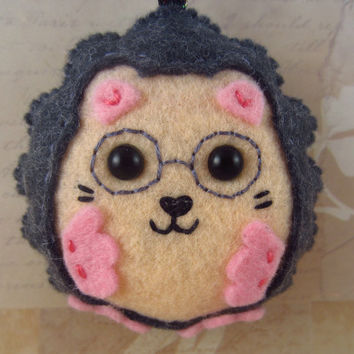 Hedgehog Key Chain/Ornament, Dark Gray Hedgehog with Glasses and Pink Feet