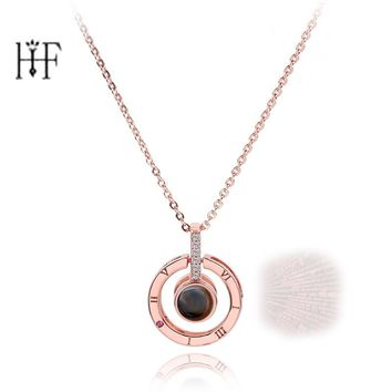 Rose Gold&Silver 100 languages I love you Projection Pendant Necklace Romantic Love Memory Wedding Necklace S952 Silver Necklace
