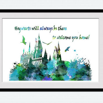 Hogwarts poster Hogwarts colorful print Harry Potter watercolor print Harry Potter poster Home decoration Kids room decor Wall poster W373
