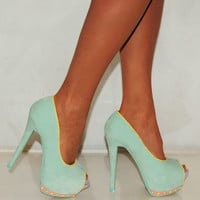 LADIES MINT FAUX SUEDE PASTEL STUDS STUDDING HIGH HEELS PLATFORM SHOES PEEP TOES