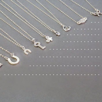 Delicate Charm Necklace, Simple Silver Necklace, Minimal and Simple Necklace   Heart, Hamsa ,Horseshoe, Bar, Key, Bow, Butterfly Charm DN01