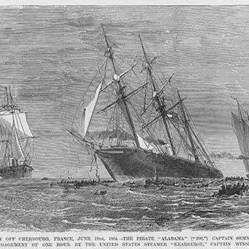 Admiral Semmes defeated in his Confederate Raider Alabama near Cherbourg, France by USS KEARSARGE (Paper Poster)