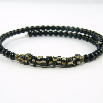 Black Mens Bracelet - Boho Tribal Trade Bead Rustic Beaded Unisex Jewelry Accessory for Him