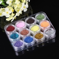 YESURPRISE 12 Colours Sparkle Acrylic Glitter Dust Powder Nail Art Polish Diy Decorations