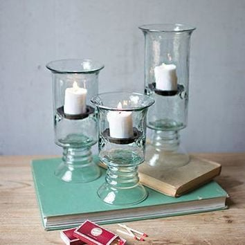 Recycled Glass Votive Cylinders with Glass Base (Set of 3)