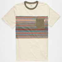 Vans Dunbar Striped Pocket Mens T-Shirt Off White  In Sizes