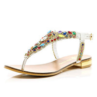 White embellished toe post sandals - shoes / accessories / bags - holiday shop - women