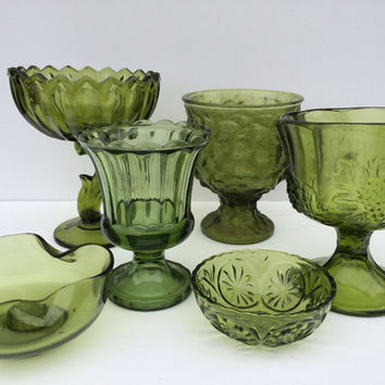 Vintage Avacoda Green Glass Collection Lot - Compote , Candy Dish, Candle Holder