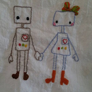Robot Love, hand embroidered, cotton flour sack tea towel,  steampunk, vintage kitchen, hand embroidery, kitchen towel, robot, geek kitchen