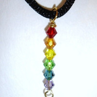Gay pride necklace, rainbow necklace, rainbow beaded pendant necklace, gay pride, GLBT.