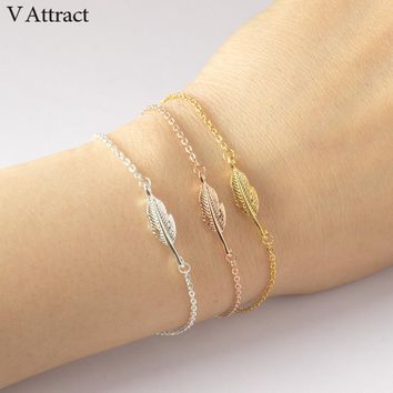 V Attract Best Friends Simple Leaf Charm Bracelet Femme Women Men Jewelry Gold Stainless Steel Chain Pulseira Masculina Couro