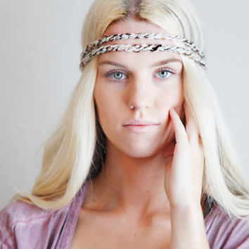Double Strand Headband Double Braid Hair Band Hippy Style Boho Music Festival Hairwrap in Neutral Speckles