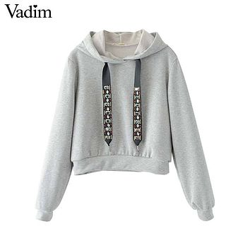Vadim women casual hooded short sweatshirt diamond tie long sleeve black gray pullover ladies autumn tops sudaderas SW1229