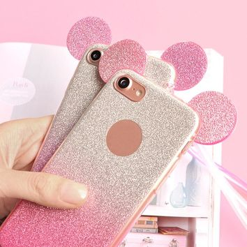 3D Minnie Mickey Mouse Ears Glitter Case For iPhone 6 Cases 6S 7 Plus 5 5S SE Silicon TPU Cover For iPhone 7 Case Coque Capa