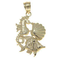 SOLID 14K YELLOW GOLD HAWAIIAN SEAHORSE SEA SHELL FISH SEALIFE CHARM PENDANT