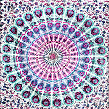 Hippie Hippy Wall Hanging, Indian mandala Tapestry Throw Bed spread, Dorm Tapestry, Bohemian Tapestry, Vintage Decorative Wall Hanging
