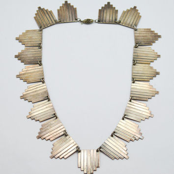 Silver Art Deco Skyscraper Choker Fringe Necklace