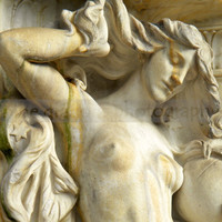 Art Nouveau Architectural Detail - Goddess Art - Marble Statue Photography of Washington DC - Wall Art Fountain Photograph - 8x8