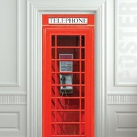 "Door wall sticker London Telephone Box self-adhesive sticker, mural, decole, film 30x79"" (77x200 Cm)"
