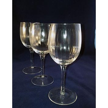Tall Goblets with Cut Ribbed Lines  S/3