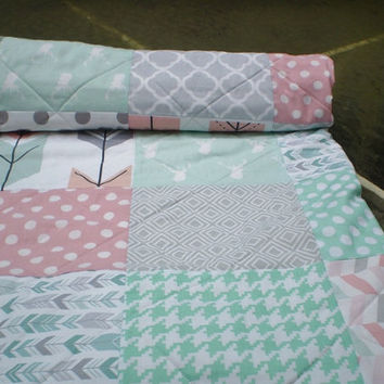 Rustic Baby Girl quilt-baby girl quilt,baby girl bedding,Rustic Nursery,toddler,mint green,coral,grey,deer,stag,arrows,woodland,Rustic Gal