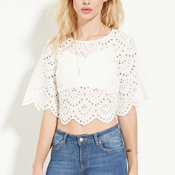Eyelet Embroidered Boxy Top