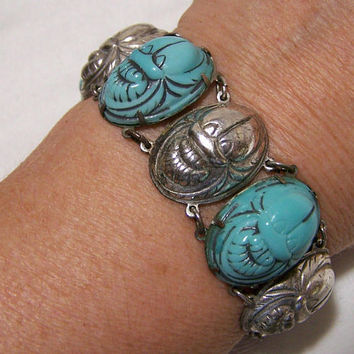 Turquoise Blue Glass Scarab Bracelet, Egyptian Revival Style Silver Plate Setting, Art Deco Era, Arm Party, Vintage Jewelry 517