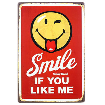 [SMILE] Home/Cafe Vintage Wall Decoration Metal Painting Wall Hanging RED