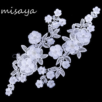 Misaya Casual White Flower Embroidery Crystal Lace Appliqued Fabric Jacquard Ribbon Lace Fabric Sewing Trims 27cm*15cm