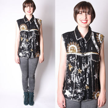 Silk Vintage 1990s Novelty Sun and Stars Black and Gold Sequin Sleeveless Dress Shirt / Sequin / Sequins / Astrological / 1898