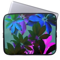 Pink,Blue, Green Leaves Laptop Sleeve 15""