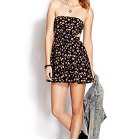 Mod Strapless Floral Dress