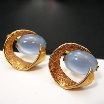 Swank Cufflinks - Grey Moonstone - Glass Cabochons - Space Age - Goldtone Setting - Vintage 1950s Mens Accessory - Groom Wedding - Best Man