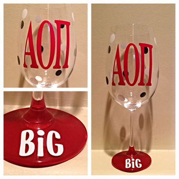 Alpha Omicron Pi, AOII, Personalized Wine Glass, Sorority Wine Glass, Custom Wine Glass, Big WIne Glass, Little Wine Glass
