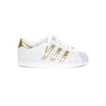 CREY9N new ADIDAS superstar white snakeskin + gold metallic custom shoes - uk 3.5 - eur 36