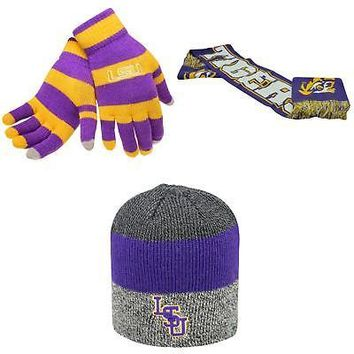 Licensed NCAA LSU Tigers Glove Stripe Knit Spirit Scarf And Sunset Beanie Hat 3Pk 55454 KO_19_1