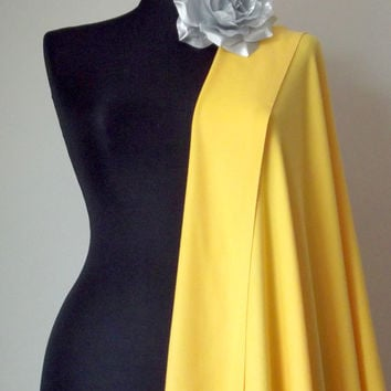 Yellow Shawl, Solid Color Yellow Pashmina, Cashmere Silk Scarf, Elegant Yellow Wrap, Bridesmaid Gift, Yellow Wedding Shawl, Flower Brooch