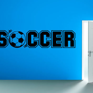 Soccer Decal Soccer Wall Decal - Vinyl Wall Art Sticker - Soccer Ball Childrens Bedroom Playroom Decor Vinyl Wall Decals