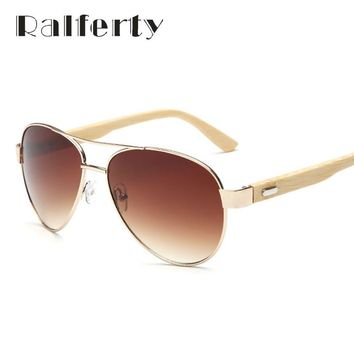 Ralferty Vintage Pilot Wood Sunglasses Men Women UV400 Gradient