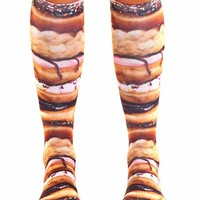 Stacked Donut Knee High Socks (Brown)