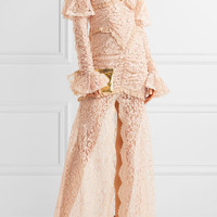 Alessandra Rich - Silk chiffon-trimmed cotton-blend lace halterneck gown