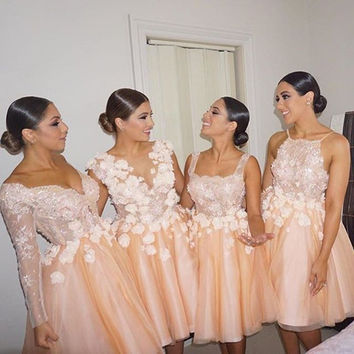 Peach Deep V Neck Long Sleeve Lace Bodice Bridesmaid Dress With Petals Knee Lengh Tulle Wedding Party Dress