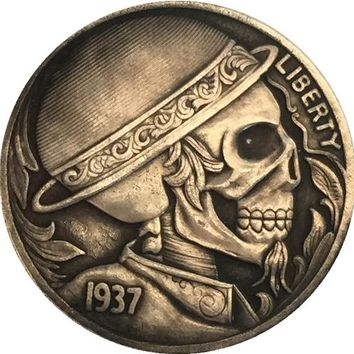 HAND CARVED Hobo Nickel 1937-D 3-LEGGED BUFFALO NICKEL COIN RARE