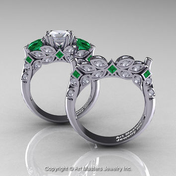 Classic 14K White Gold Three Stone Princess White Sapphire Emerald Diamond Solitaire Engagement Ring Wedding Band Set R500S-14KWGDEMWS
