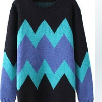 Blue Pop Art ZigZag Pattern Cardigan #2