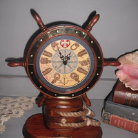 Ships wheel nautical wood and brass Table Clock ~ Beach Cottage ~ office ~